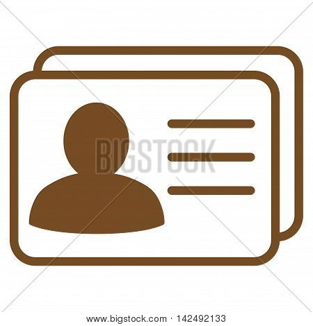 Account Cards icon. Vector style is flat iconic symbol with rounded angles, brown color, white background.