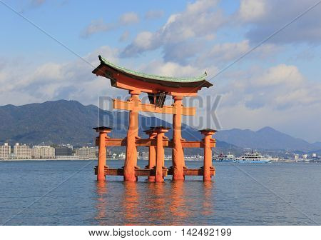 A tori gate part of the Itsukushima Shrine in Japan.