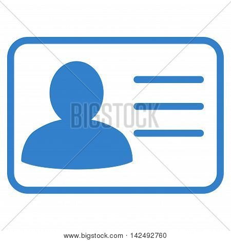 Account Card icon. Vector style is flat iconic symbol with rounded angles, cobalt color, white background.