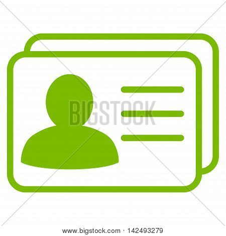 Account Cards icon. Vector style is flat iconic symbol with rounded angles, eco green color, white background.