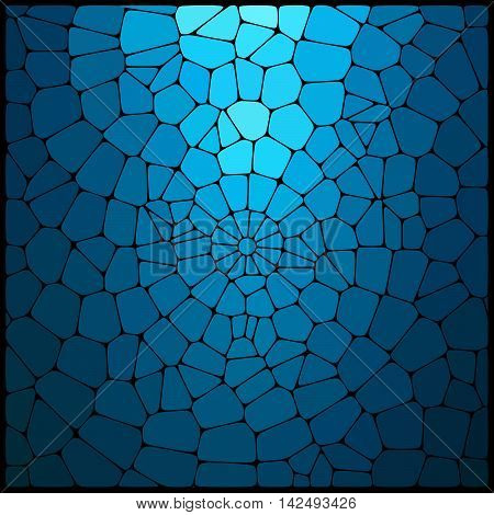 Abstract Mosaic Pattern Consisting Of Blue Geometric Elements Of Different Sizes And Colors. Vector