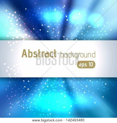 Background With Colorful Light Rays. Abstract Background. Vector Illustration. Blue Color.