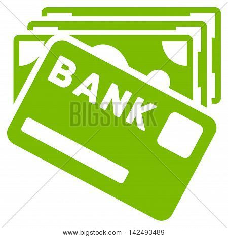 Credit Money icon. Vector style is flat iconic symbol with rounded angles, eco green color, white background.