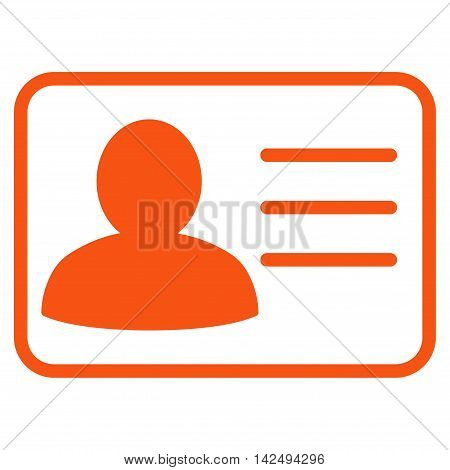 Account Card icon. Vector style is flat iconic symbol with rounded angles, orange color, white background.