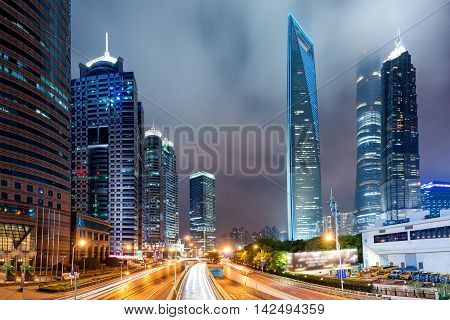 Shanghai Lujiazui finance and Shanghai trade zone of the modern city at night in Shanghai China.
