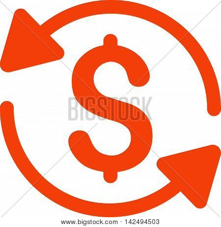 Money Turnover icon. Vector style is flat iconic symbol with rounded angles, orange color, white background.