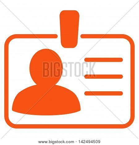 Personal Badge icon. Vector style is flat iconic symbol with rounded angles, orange color, white background.