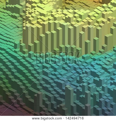 Abstract Background With Cube Decoration. Vector Illustration. Green, Blue Colors.