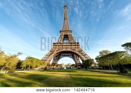 Eiffel tower at morning time in Paris France. Eiffel tower is famous and best destinations in Paris and France.