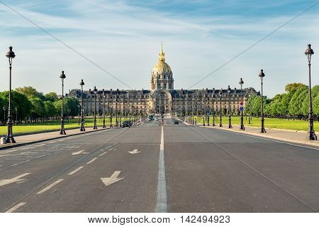 Paris street view and Invalides museum in city of Paris in France.