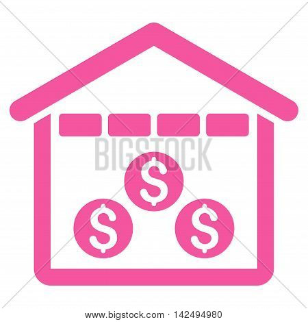 Money Depository icon. Vector style is flat iconic symbol with rounded angles, pink color, white background.
