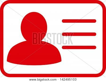 Account Card icon. Vector style is flat iconic symbol with rounded angles, red color, white background.