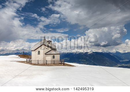Chapel on the Kronplatz (2275 m) above Brunico South Tyrol Italy