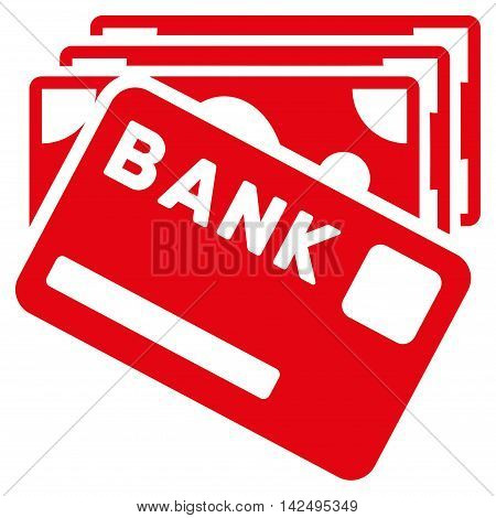 Credit Money icon. Vector style is flat iconic symbol with rounded angles, red color, white background.