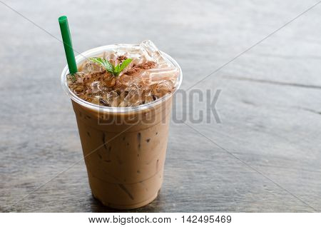 Ice peppermint mocha on wooden table, ice coffee