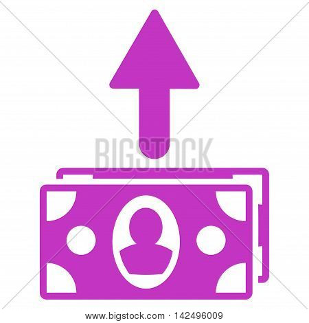 Spend Banknotes icon. Vector style is flat iconic symbol with rounded angles, violet color, white background.