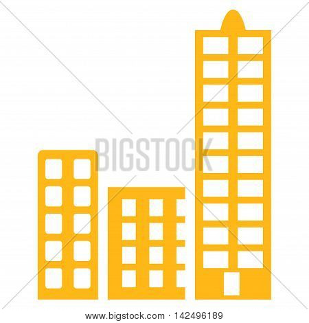 City icon. Vector style is flat iconic symbol with rounded angles, yellow color, white background.