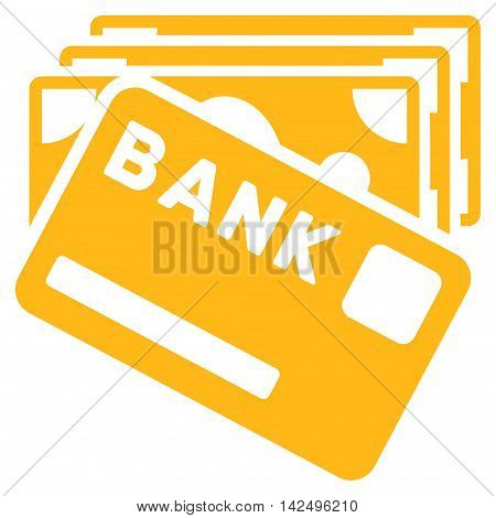 Credit Money icon. Vector style is flat iconic symbol with rounded angles, yellow color, white background.