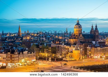 Amsterdam skyline in historical area at night Amsterdam Netherlands. Ariel view of Amsterdam Netherlands.
