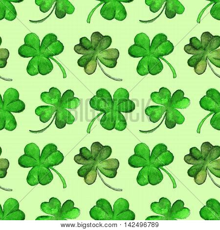 Watercolor green clover shamrock Saint Patrick's Day seamless pattern