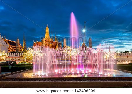 Wat phra kaew with colorful fountain at night in Bangkok Thailand. Beautiful temple in Bangkok Thailand.