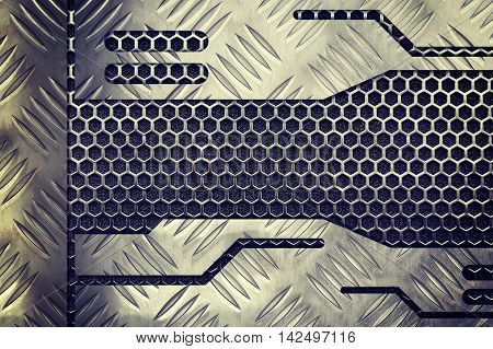 metal plate over comb grid or grille background