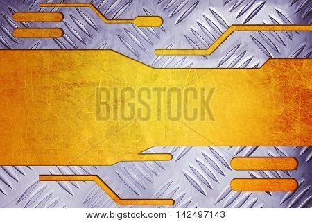 metal plate on metallic gold for background