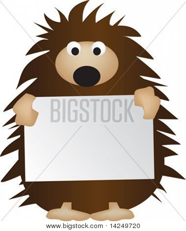 Vector illustration of a hedgehog holding a blank sign