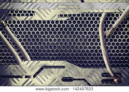 metal plate over comb grid or grille with metal pipe background