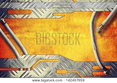 metal plate on metallic gold background with metal pipe