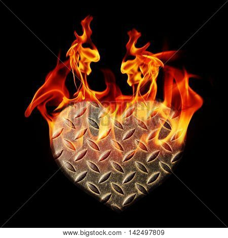 background hearts of steel with blaze fire flame