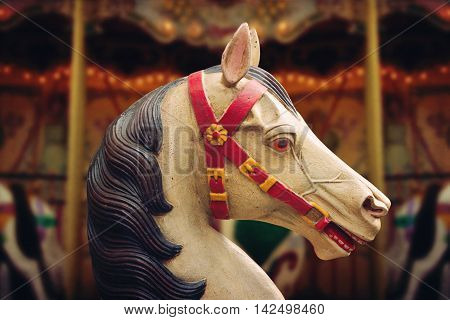 Vintage French traditional carousel horse close up