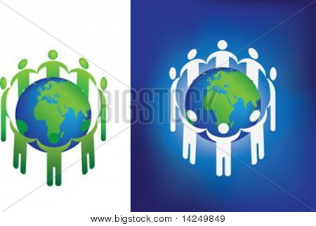 2 vector illustrations of a group forming a circle around the earth