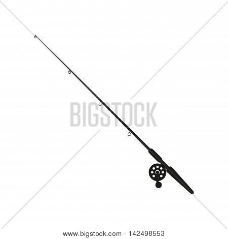 flat design fishing rod icon vector illustration