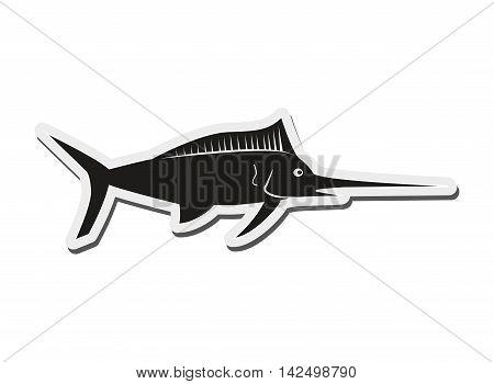 flat design single swordfish icon vector illustration