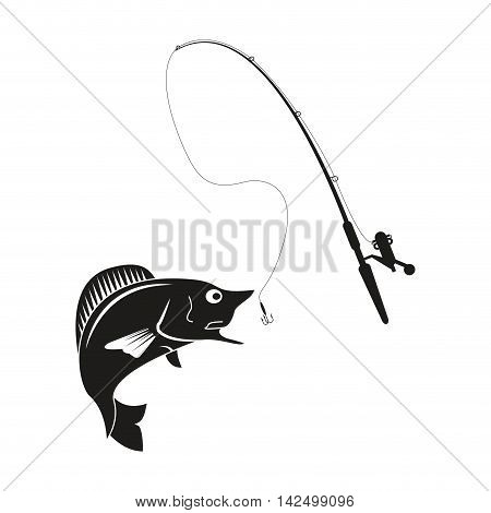 flat design fishing rod and rod icon vector illustration