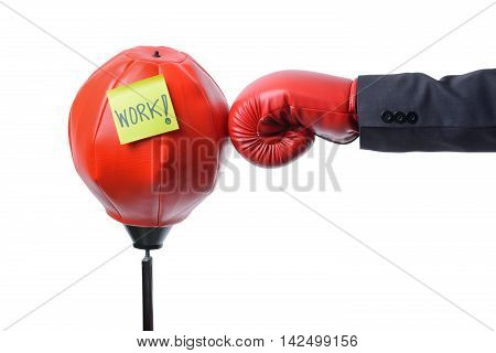 businessman fist punch red punching bag business concept