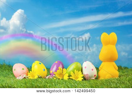 Easter holiday background with egg and bunny