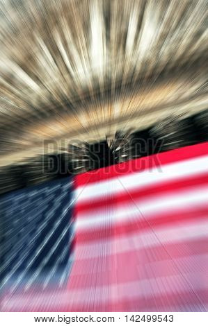 Blurred background picture of flag and New York with room for your type.