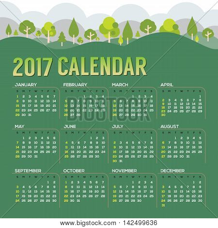 2017 Printable Calendar Starts Sunday Natural Landscape Vector Illustration. EPS 10