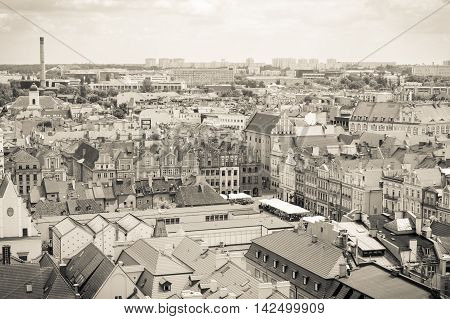 Poznan, Poland - June 28, 2016: Black And White Photo, City Market, Old And Modern Buildings In Town