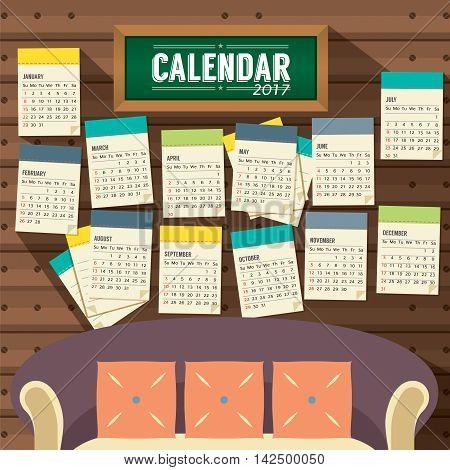 Flat Design Living Room 2017 Printable Calendar Starts Sunday Vector Illustration. EPS 10