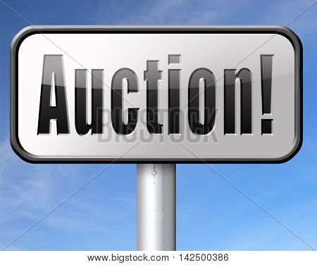 Online auction bid here and now. Buy and sell products real estate and cars or houses on the internet. 3D illustration