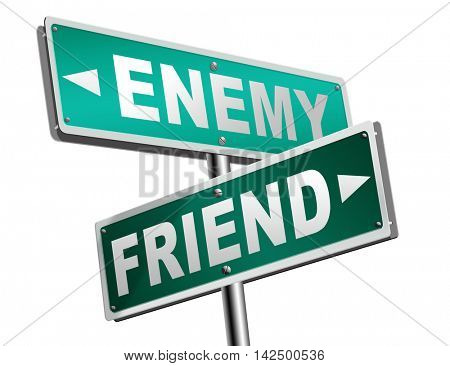 friend enemy best friends or worst enemies friendship 3D illustration