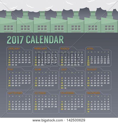 2017 Printable Calendar Starts Sunday Vector Illustration. EPS 10