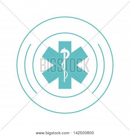 flat design medical asclepius rod icon vector illustration