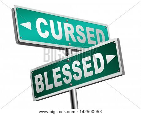 blessed cursed sacred and Devine holy or curse dammed and a burden good or evil spell and good or bad luck God or devil 3D illustration
