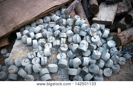 Concrete Cylinder Steel Retainers in the Construction site.