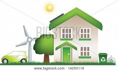 A modern eco, earth friendly house