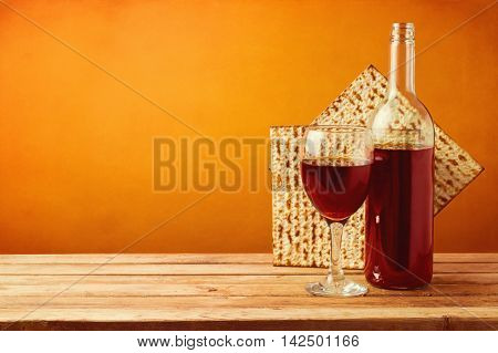 Background with wine and matzo for passover celebration